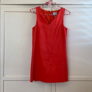 Coral cute Cece cocktail dress with scalloped neck